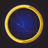 Taurus star horoscope zodiac in fish eye telescope with cosmos background Royalty Free Stock Photography