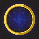 Taurus star horoscope zodiac in fish eye telescope with cosmos background. Taurus star horoscope zodiac in fish eye telescope golden ring frame with cosmos Royalty Free Stock Photography
