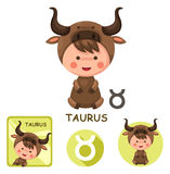 Taurus vector collection. zodiac signs Royalty Free Stock Images