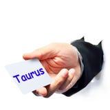 Taurus word write Stock Photos