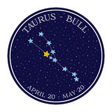Taurus zodiac constellation in space. Cute cartoon style vector Royalty Free Stock Image