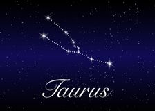 Taurus zodiac constellations sign on beautiful starry sky with galaxy and space behind. Taurus horoscope symbol constellation. On deep cosmos background Royalty Free Stock Photos