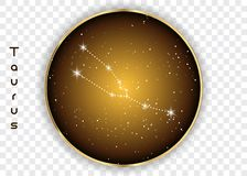 Taurus zodiac constellations sign on beautiful starry sky with galaxy and space behind. Taurus horoscope symbol constellation on d. Eep cosmos background. Vector Royalty Free Stock Photography