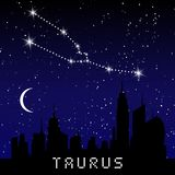 Taurus zodiac constellations sign on beautiful starry sky with galaxy and space behind. Taurus horoscope symbol constellation on d. Eep cosmos background Stock Image