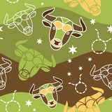 Taurus - Zodiac seamless pattern. Vector seamless pattern with Taurus astrology symbols vector illustration