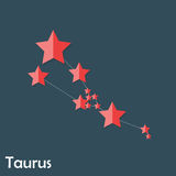Taurus Zodiac Sign of the Beautiful Bright Stars Stock Image