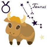 Taurus zodiac sign in cartoon style isolate on white background vector royalty free illustration