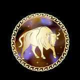 Taurus zodiac sign in circle frame. royalty free illustration
