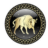 Taurus zodiac sign in circle frame. stock illustration