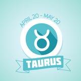 Taurus zodiac sign. In circular frame,  Illustration. Contour icon Stock Images