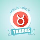 Taurus zodiac sign. In circular frame,  Illustration. Contour icon Stock Photography
