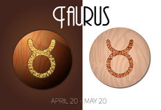 Taurus zodiac sign. In circular frame,  Illustration, made in the form of filaments. Icons on a wooden background Stock Photo