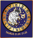Taurus zodiac sign.Horoscope circle Stock Images