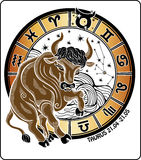 Taurus and the zodiac sign.Horoscope circle. Vecto Stock Photos