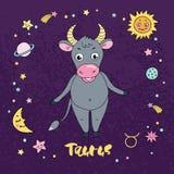 Taurus zodiac sign on night sky background with stars Stock Image