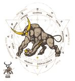 Taurus zodiac Sign in the zodiac circle with the designation of 12 zodiac signs. Vector illustration Royalty Free Illustration
