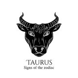 Taurus zodiac. Signs of the zodiac. Taurus hand draw. Black silhouette and white details. Vector illustration isolated on a white background Stock Photography