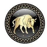 Taurus zodiak podpisuje wewnątrz okrąg ramę ilustracji
