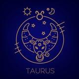 Taurus zodiaka znak, logo, tatuaż lub ilustracja, Karmowy horoskop ilustracja wektor