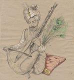 Taus-Spieler Eine Hand gezeichnete lebensgroße Illustration, ursprünglich Lizenzfreie Stockbilder