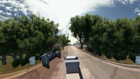 Tauschen Sie das Gehen auf eine Straße, die durch Bäume umgeben wird stock abbildung