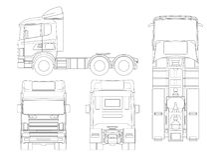Tauschen Sie Traktor- oder Sattelschlepper-LKW in Entwurf Kombination einer Traktoreinheit und einer oder mehrerer Sattelschleppe vektor abbildung