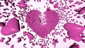 Tausende-rosa Herzen 3D stock video
