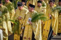 Tausenden der orthodoxen Priester auf der Straße feiern orthodoxes Palmsonntag in Rumänien lizenzfreies stockbild