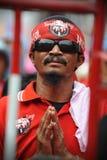Tausenden des roten Hemd-Protestes in Bangkok Stockfotografie