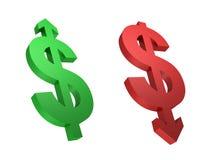 Taux de change. Accroissement du dollar. Dollar en baisse. Photo stock