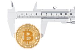 Taux de change de Bitcoin, concept de mesure rendu 3d Photos stock