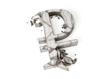 Taux de change de rouble russe vers le bas rendu 3D de symbole en pierre détruit de rouble sur un fond blanc image libre de droits