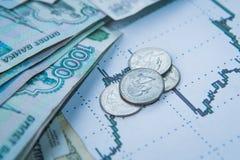 Taux de change de rouble sur des bourses internationales Photos libres de droits