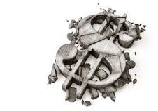 Taux de change du dollar vers le bas rendu 3D de symbole en pierre détruit du dollar sur un fond blanc photos libres de droits