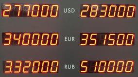 Taux de change, tableau indicateur électronique banque de vidéos