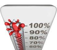 Taux de niveau de succès de mesure de thermomètre total Complet de 100 pour cent illustration libre de droits