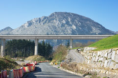 Tav viaduct construction in basque country. With environment damage Royalty Free Stock Photography