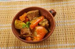 Azerbaijani dish Tava. Tava ety - Azerbaijani dish with lamb Royalty Free Stock Photos