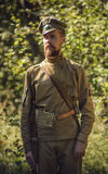TAVATUI, SVERDLOVSK OBLAST, RUSSIA - AUGUST 20, 2016: Historical reenactment of Russian Civil war in the Urals in 1918. Soldier of Stock Photography
