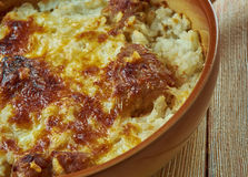 Tave kosi. Baked lamb and rice with yoghurt. national dish in Albania Royalty Free Stock Photos