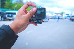 Tavel taking selfies with action cam. Selfie by actioncam and Royalty Free Stock Photos