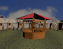 Tavern. 3d render of an medieval tavern on a market Stock Image