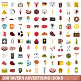 100 tavern advertising icons set, flat style. 100 tavern advertising icons set in flat style for any design vector illustration Stock Illustration