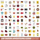 100 tavern advertising icons set, flat style. 100 tavern advertising icons set in flat style for any design vector illustration stock illustration
