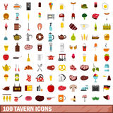 100 tavern icons set, flat style Royalty Free Stock Image