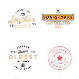 Tavern, leather goods, premium quality themed logotypes. Four vintage logo templates. Tavern, leather goods, premium quality themed logotypes Royalty Free Stock Image