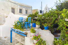 Tavern in old town Chora of Naxos island, Cyclades, Greece. Naxos old town, Cyclades, Greece royalty free stock image