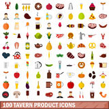 100 tavern product icons set, flat style. 100 tavern product icons set in flat style for any design vector illustration Stock Images