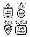 Tavern sign, metal frame with curly elements. Vector illustration on white background Royalty Free Stock Images