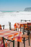 Tavern tables in Crete Stock Images